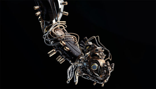 Wooden robotic arm holding heart on black