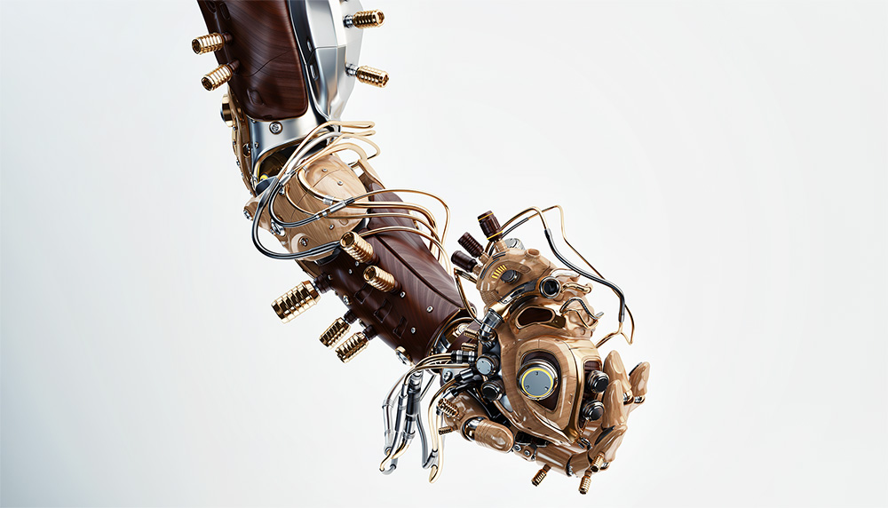 wooden robot arm with heart