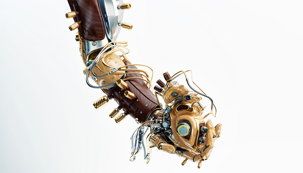 Wooden robotic arm holds artificial wood heart