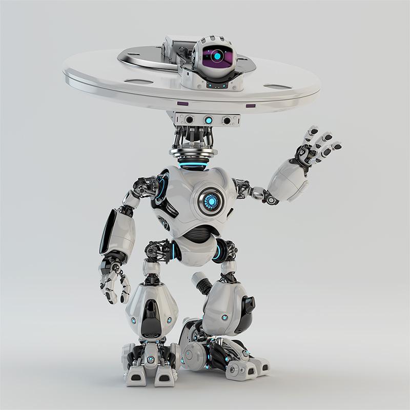 plate bot waving with hand hi greeting