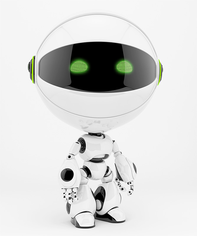 round circle robot toy white