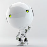 robot toddler with green bright eyes pointing on you