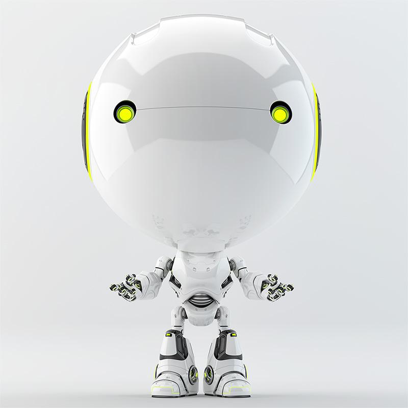robotic toddler green eyes