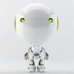 robot with green illuminated eyes