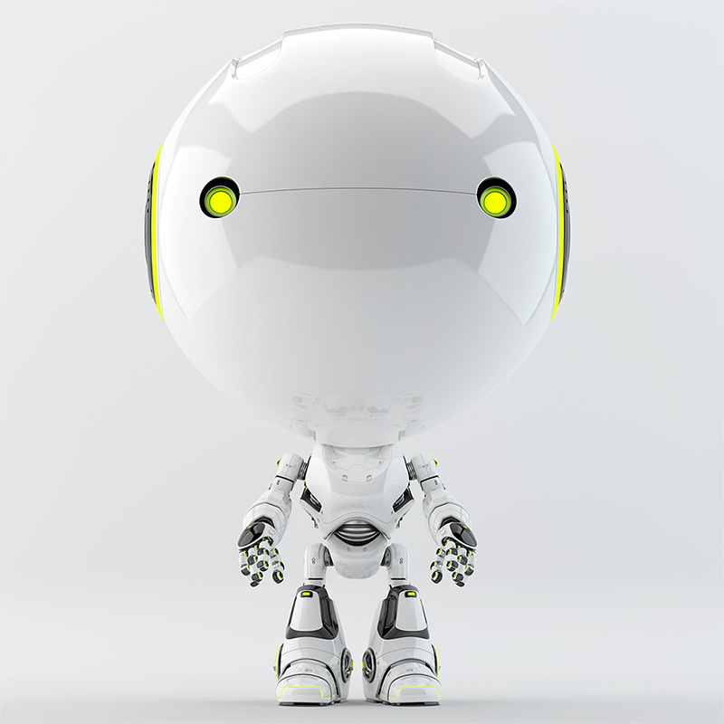 robot with green illuminated eyes