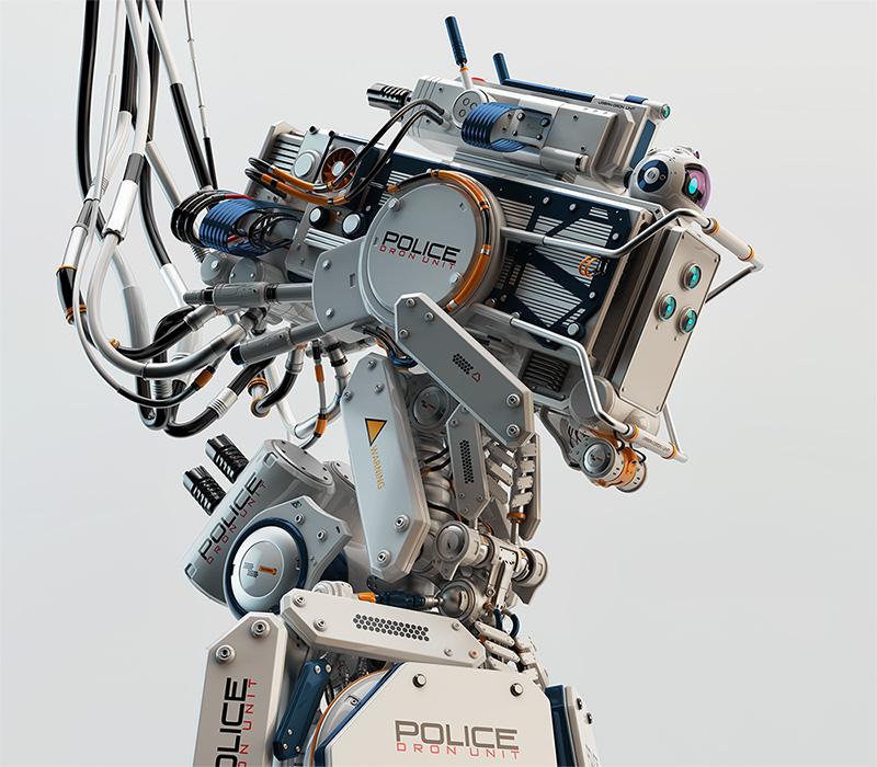 futuristic robot policeman