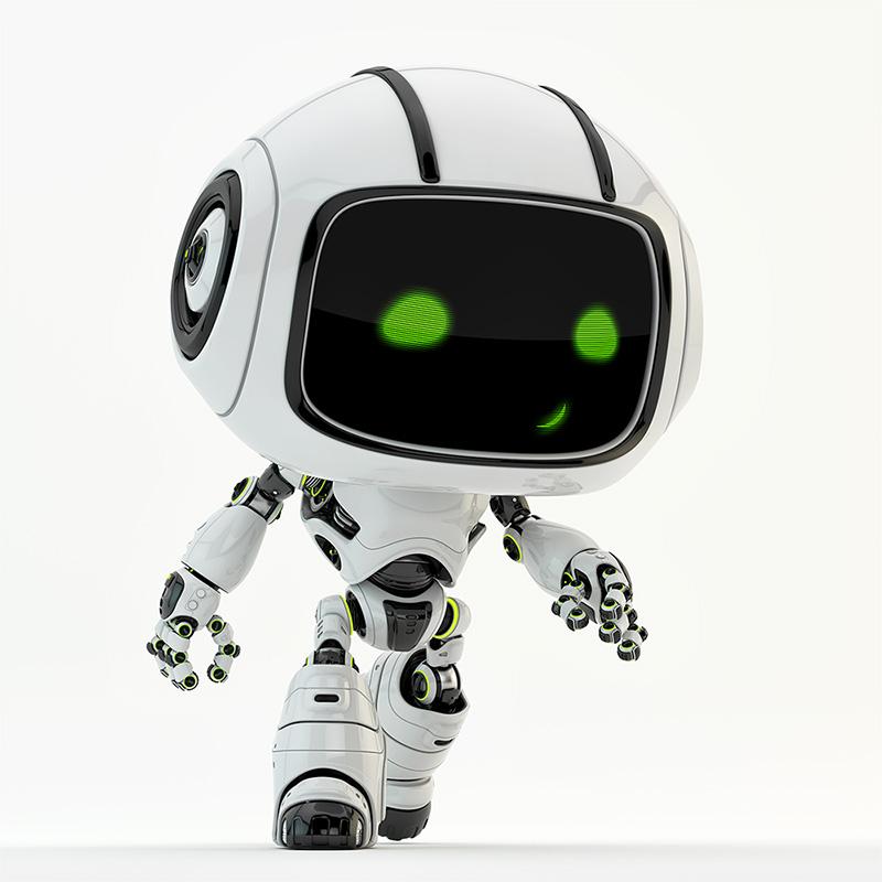 robot toy green eyes walking step smiling