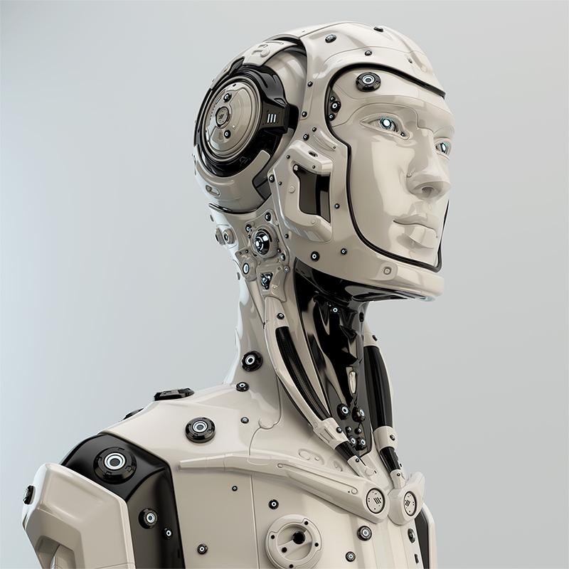 cyborg with helmet face