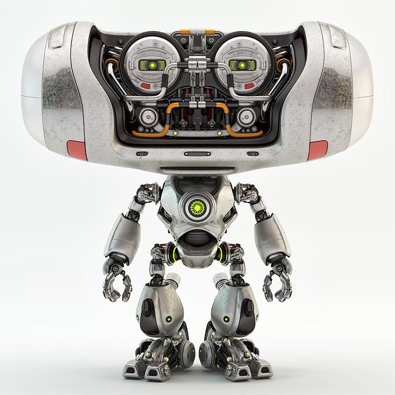 metal steel robot cheburashka