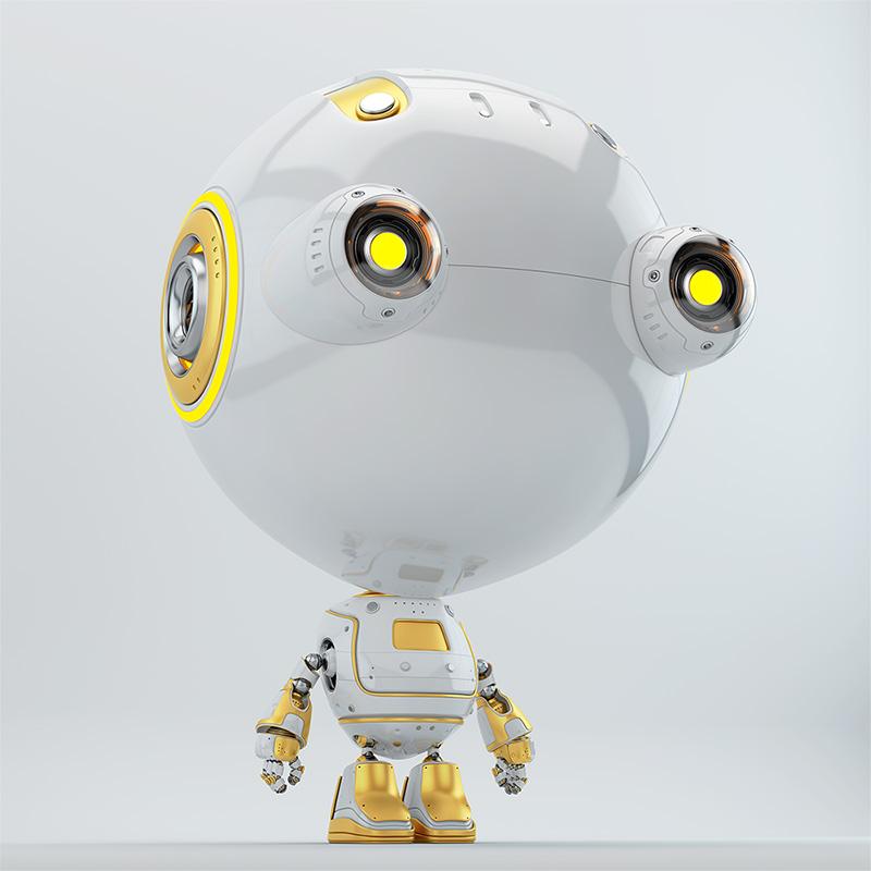 toddler robot with big eyes white