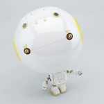 cute white toy toddler robot with yellow eyes and ear elements