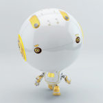 robotic toddler walking with yellow elements