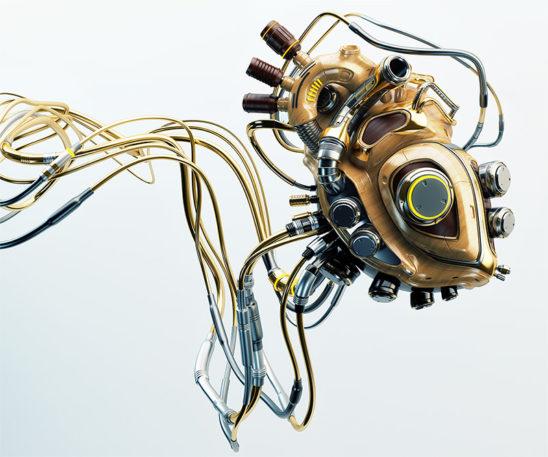 robot heart wooden