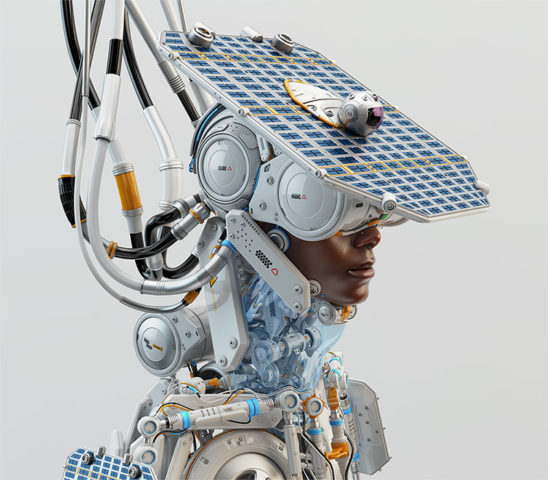 afrosamurai robot with solar panel on head