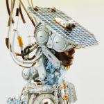 afrosamurai robot with hat as solar panel