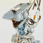 Afrosamurai robot with solar panel and camera on head. Without any signs or text
