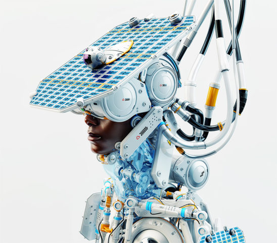 Afrosamurai robot with solar panel and camera on head