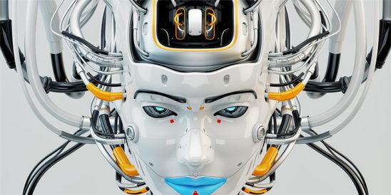 robotic face geisha girl blue lips