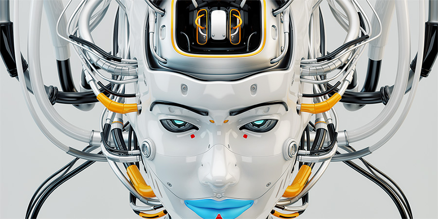 robotic face geisha girl blue lips