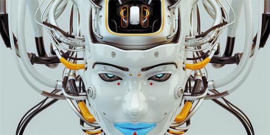 robot geisha with blue lips