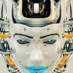 Stylish robot geisha with blue lips