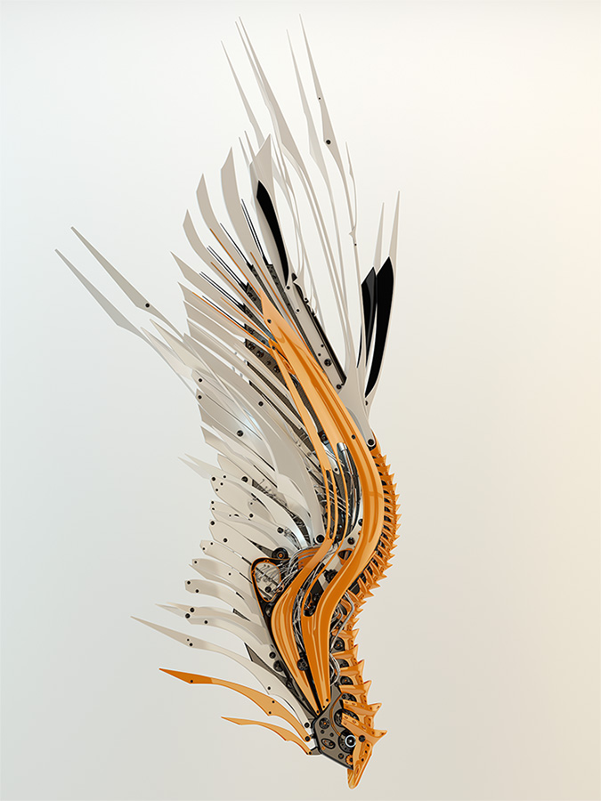 yellow robotic futuristic wing
