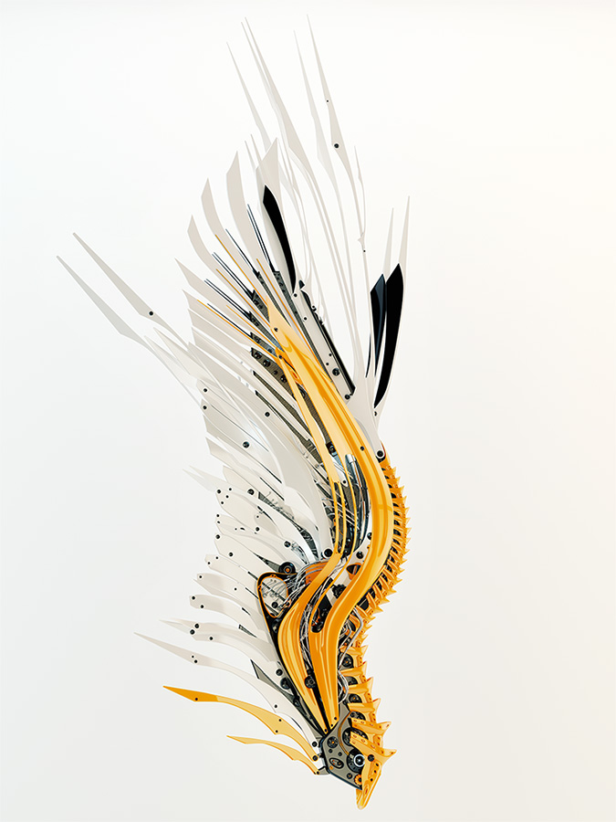 stylish orange white robotic wing