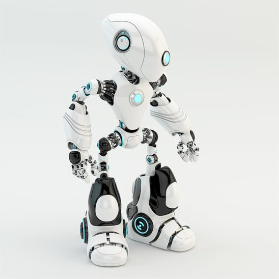 white oculus robot with long head