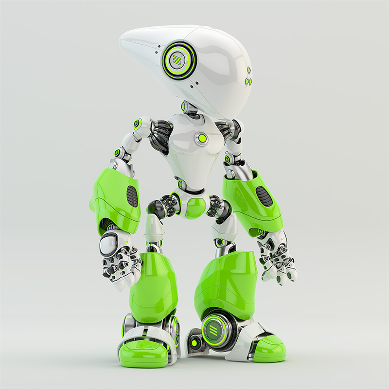 green bright robot oculus long-headed
