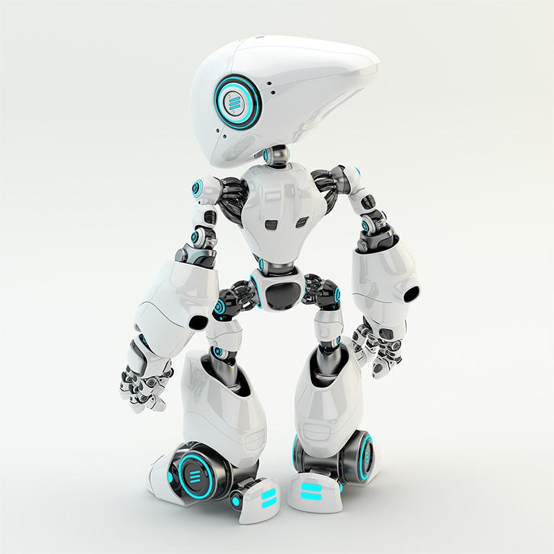 robot with long head and blue illumination backwards
