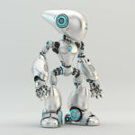 silver oculus robot with long head