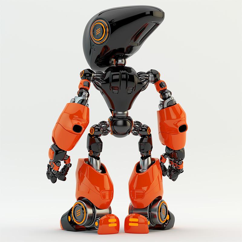 terracotta-black robot backwards