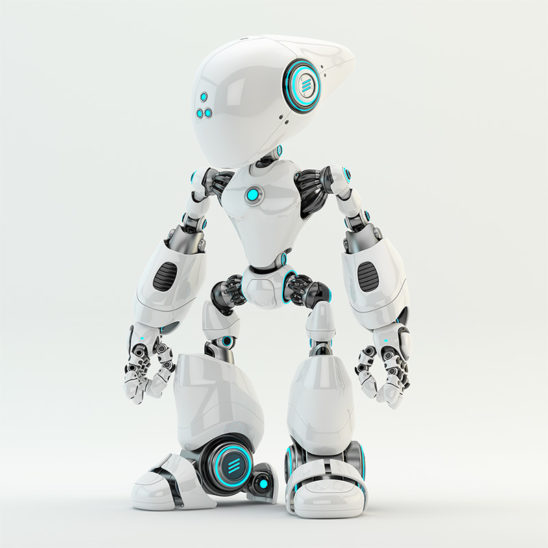 robot white with long head and blue illumination