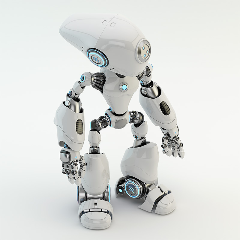 unique white long headed robot