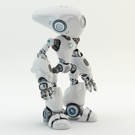 white plastic robot with long head