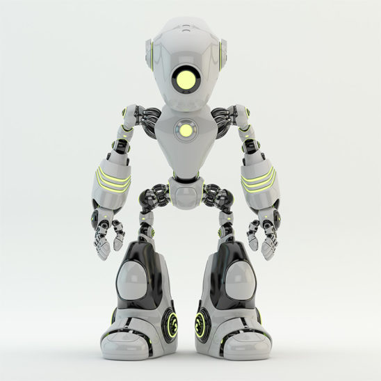 White robot oculus with long head and yellow illuminated parts
