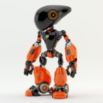 Unusual Oculus robot with long dark head and stylish terracotta color body parts