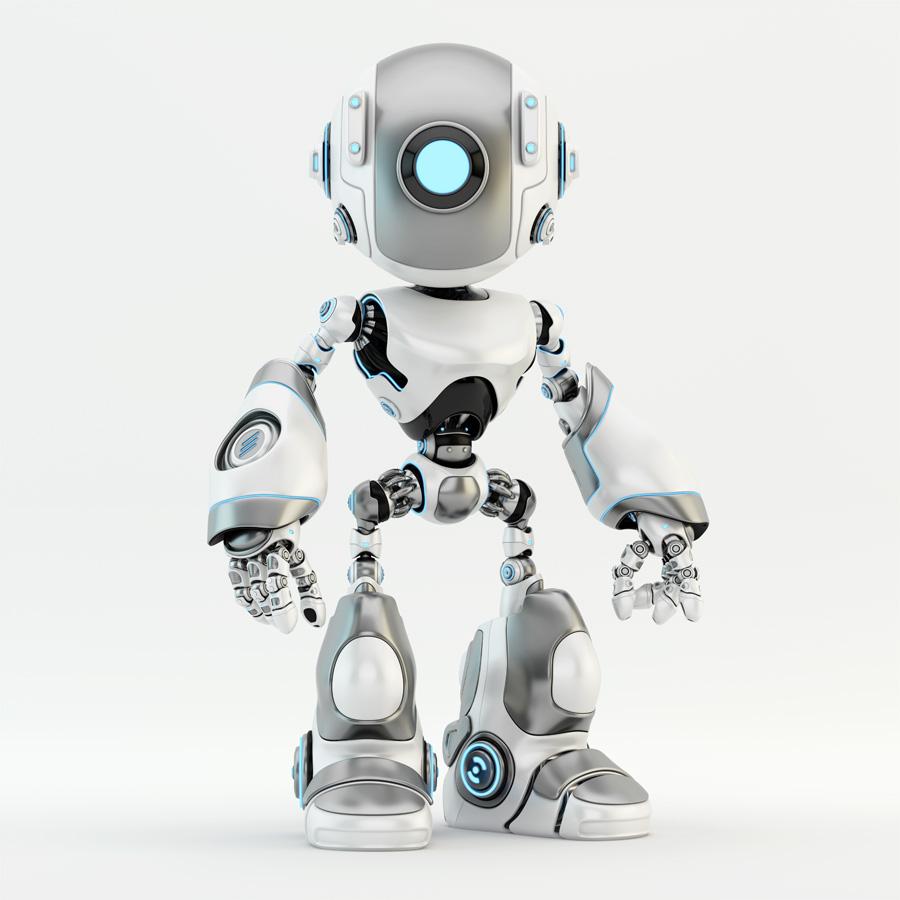 matte silver oculus robot