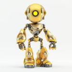 Matte and glossy gold oculus robot with one yellow illuminated eye-light