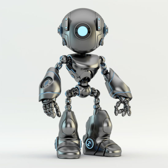 Matte and glossy oculus robot with one blue illuminated eye-light