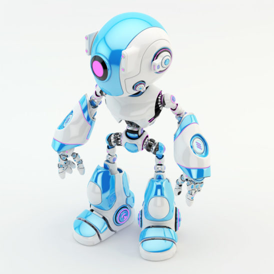 Light blue oculus robot character