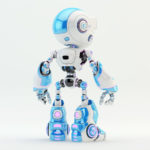 Light blue oculus robot character with violet illuminated details backwards