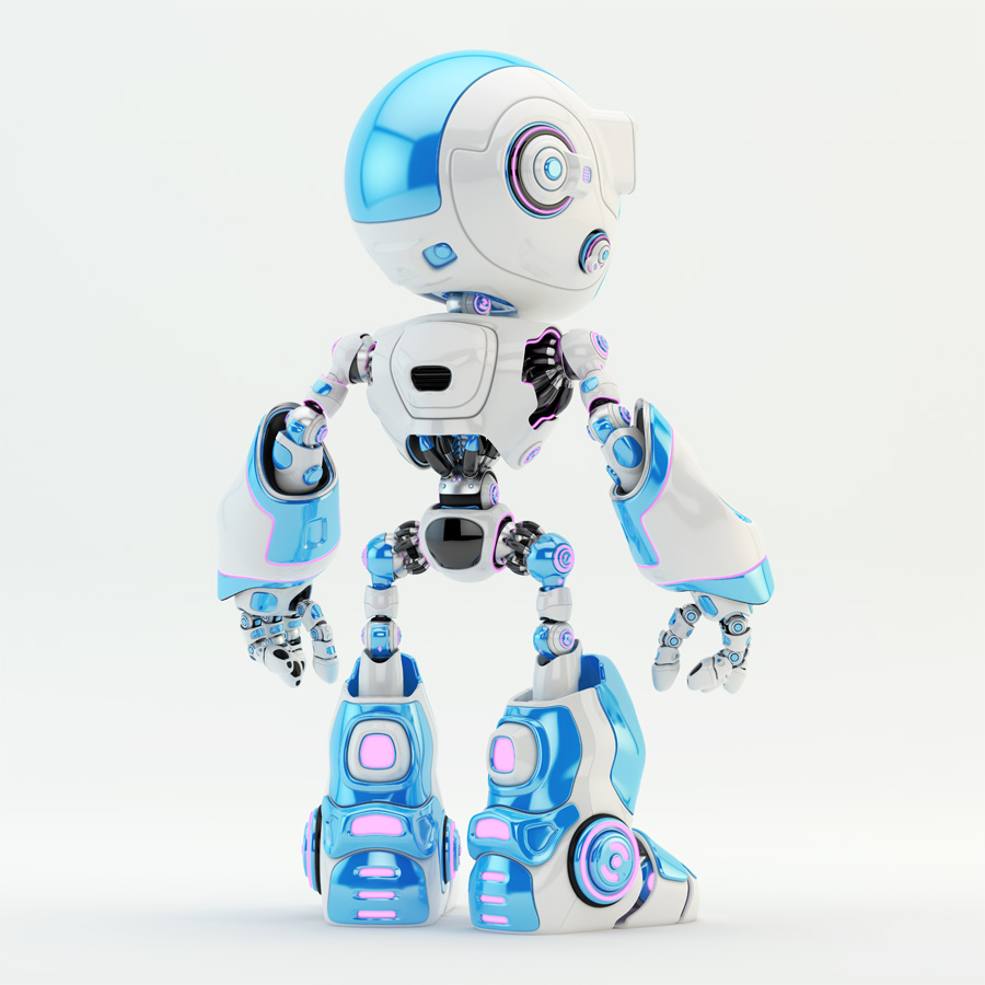Light blue oculus robot character with violet illuminated details backwards