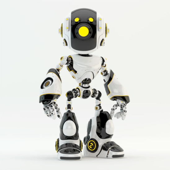 Oculus robot with yellow camera eyes