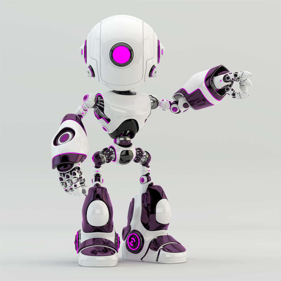 Stylish oculus robot pointing, gesturing
