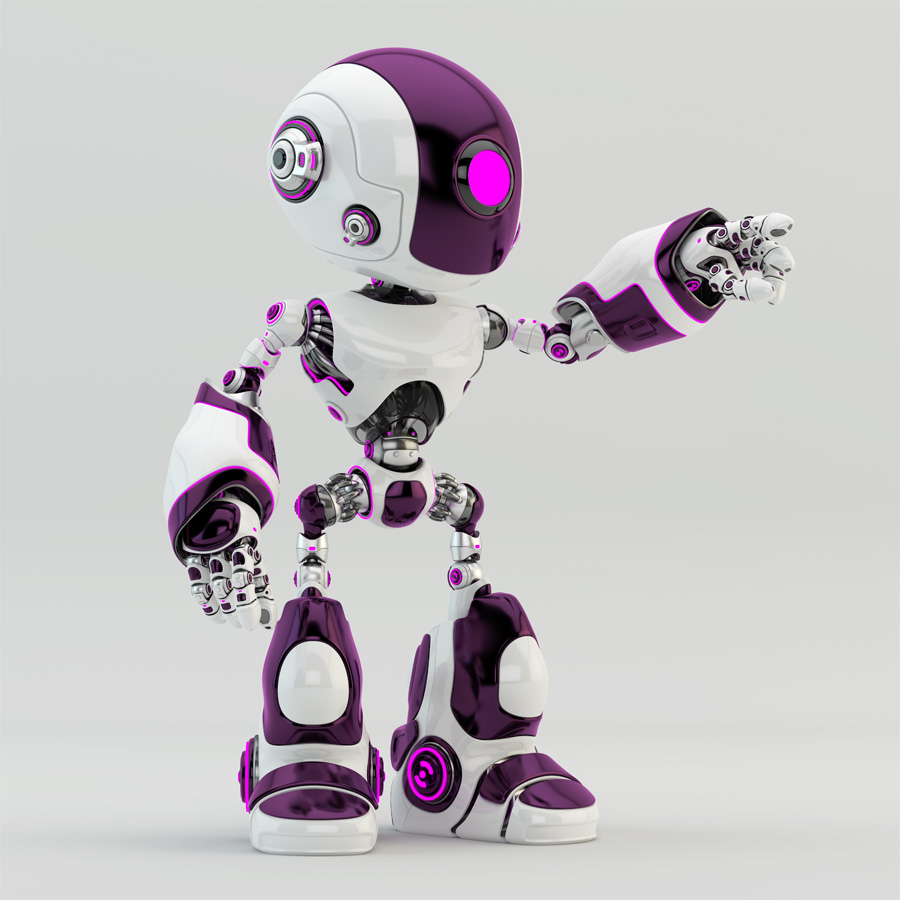Stylish oculus robot pointing, gesturing. White body with bright violet lighting on details
