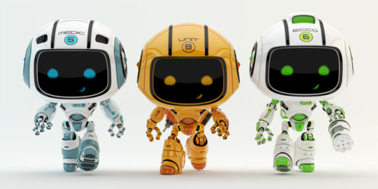 three walking robots, eco, engineeer and medic