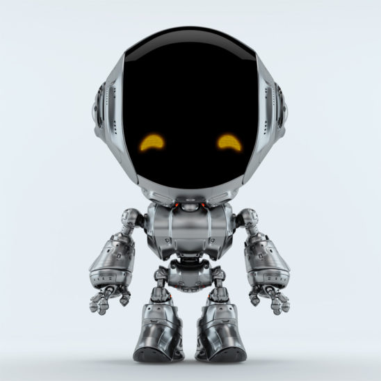 charming fun bot robot silver character