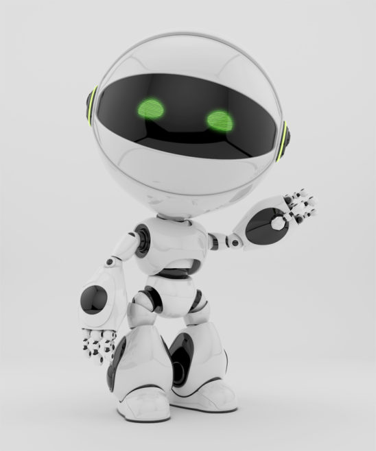 white circle robot greeting