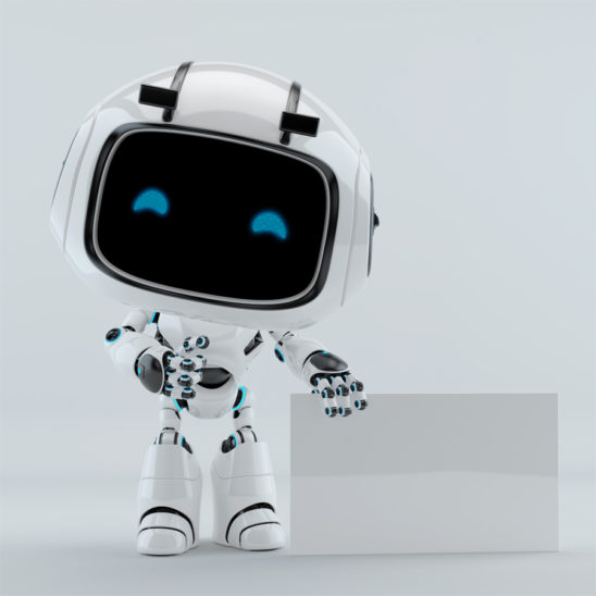 white robot with empty white glossy board